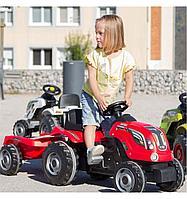 Детский педальный трактор Smoby XL с прицепом 710108 красный
