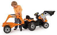 Smoby Трактор педальный строительный с 2-мя ковшами и прицепом