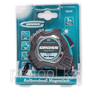 Рулетка Magnetisch 3 м х 16 мм, обрезиненный корпус, автоматическая фиксация, Нейлоновое покрытиеытие, зацеп с, фото 2