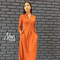 Платье с фигурным стойкой воротником с пуговицами до талии юбка вскладку длинный рукав