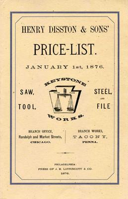 Книга *Henry Disston & Sons Price List 1876*, репринт