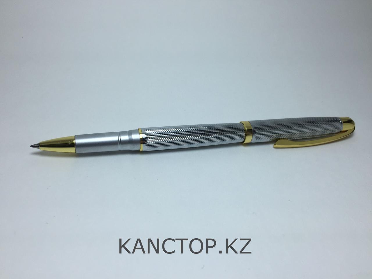 Ручка капилярная подарочная серебристая с золотыми элементами