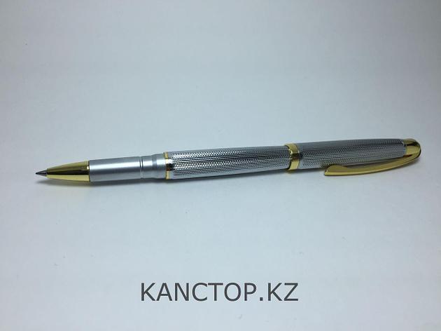 Ручка капилярная подарочная серебристая с золотыми элементами, фото 2