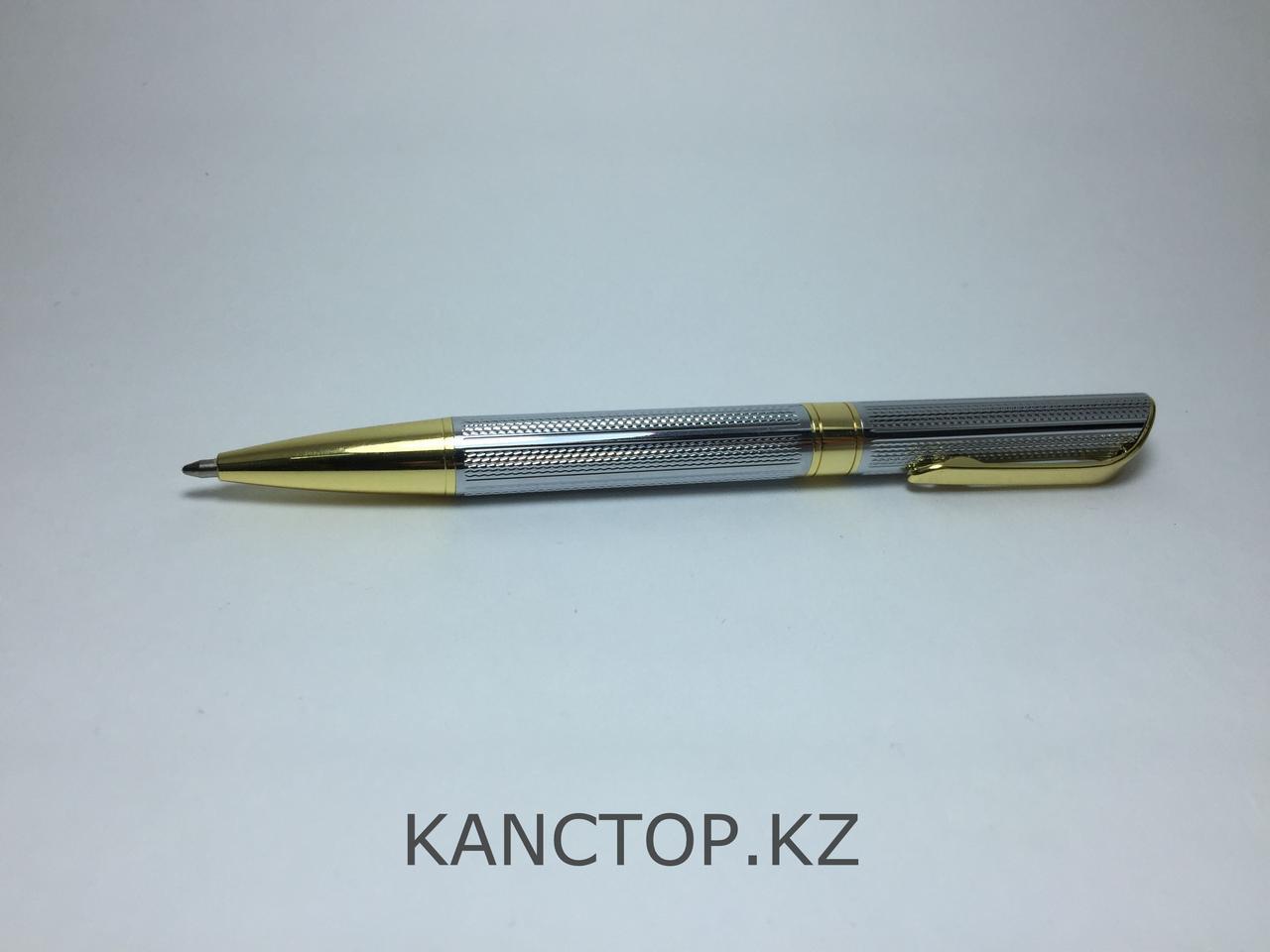Ручка шариковая подарочная серебристая с золотыми элементами