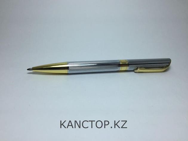Ручка шариковая подарочная серебристая с золотыми элементами, фото 2