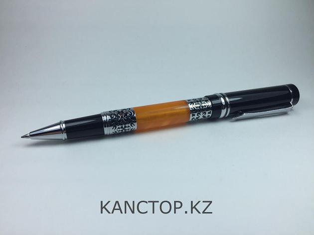 Ручка капилярные подарочная с национальным узором и янтарем, фото 2