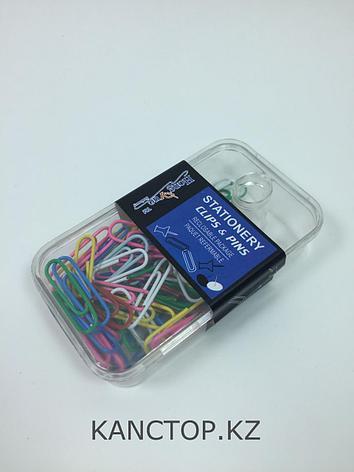 Скрепки Stationery clips & pins цветные, фото 2