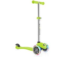 Детский самокат Globber Primo со светящимися колёсами, зелёный