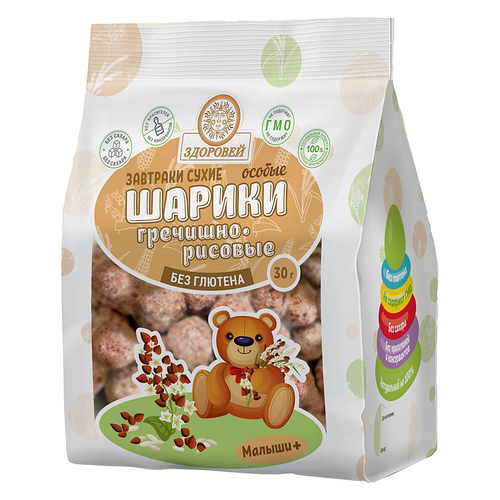 """Здоровей Сухой завтрак """"Шарики Гречишно- Рисовые"""" особые 30 гр"""