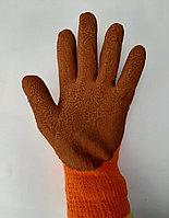Перчатки облитые Прорезиненные с пенкой  цвета : Оранжевые и Синие., фото 1
