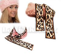 Меховая повязка ободок на голову или шею 2 в 1 (темно-розовая)