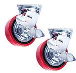 Колеса поворотные c боковым тормозом (полиуретан)