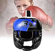 Боксерский шлем Шлем для бокса детский тхэквондо санда муай тай боевых искусств (синий)