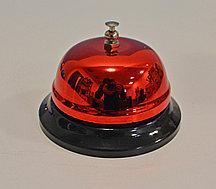 Настольный звонок на ресепшен металлический звонок ресепшн красный 6 см высота х 8.5 см диаметр (QJ125)