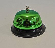 Настольный звонок на ресепшен металлический звонок ресепшн зеленый 6 см высота х 8.5 см диаметр (QJ125)