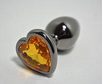Маленькая анальная пробка с оранжевым кристаллом