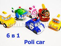 Игровой набор машинокРобокар Поли (6 машинок: 2 такси, 1 полицейский, 1 вертолет, 1 скорая и 1 пожарная) P4