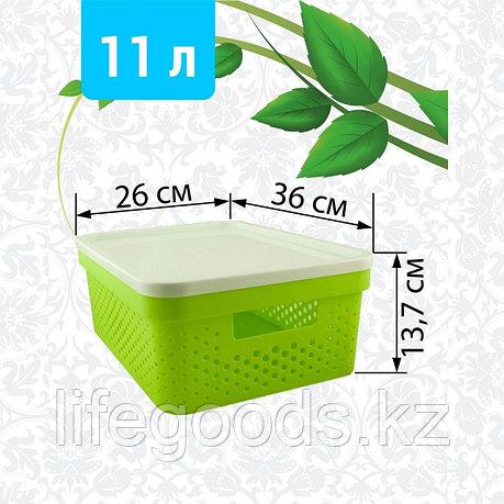 Корзина пластиковая с крышкой, 11л (бело-салатовая), фото 2