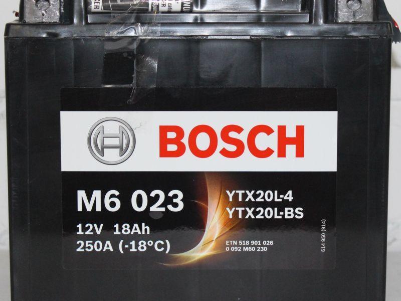 Mото аккумулятор Bosch Agm 18Ah 12V M6 023 YTX20L-BS
