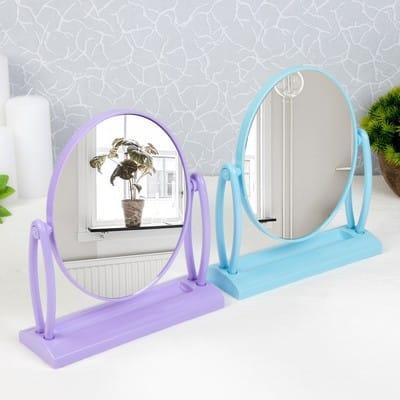 Зеркало настольное, двустороннее, зеркальная поверхность — 14 × 17 см, МИКС
