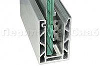 Т100-2-12 комплект профиля алюминиевого зажимного НЕАНОДИРОВАННОГО для стекла 12 мм и 6+6 мм, 100х60мм, длина