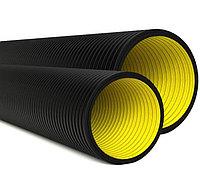 Двустенная труба ПНД жесткая для кабельной канализации д.125мм, SN10, 6м, цвет черный