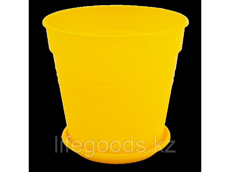 """Вазон """"Глория"""" с подставкой 11*10,2см. (т.жёлтый)"""