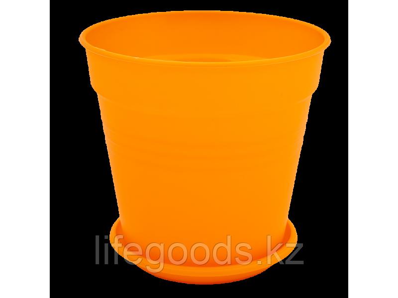 """Вазон """"Глория"""" с подставкой 14,5*14см. (оранжевый)"""