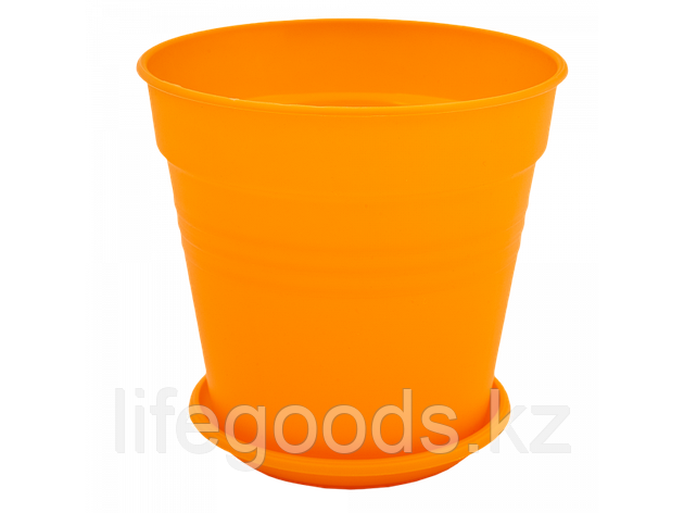 "Вазон ""Глория"" с подставкой 14,5*14см. (оранжевый), фото 2"