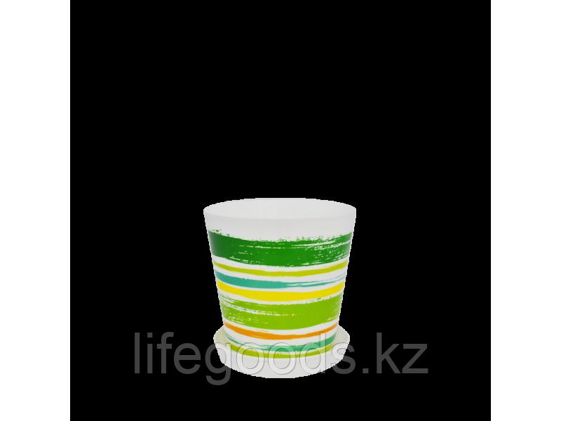 """Вазон """"Деко"""" с подставкой с декором 13*12,5см. (Краски: зел.) 160702009"""