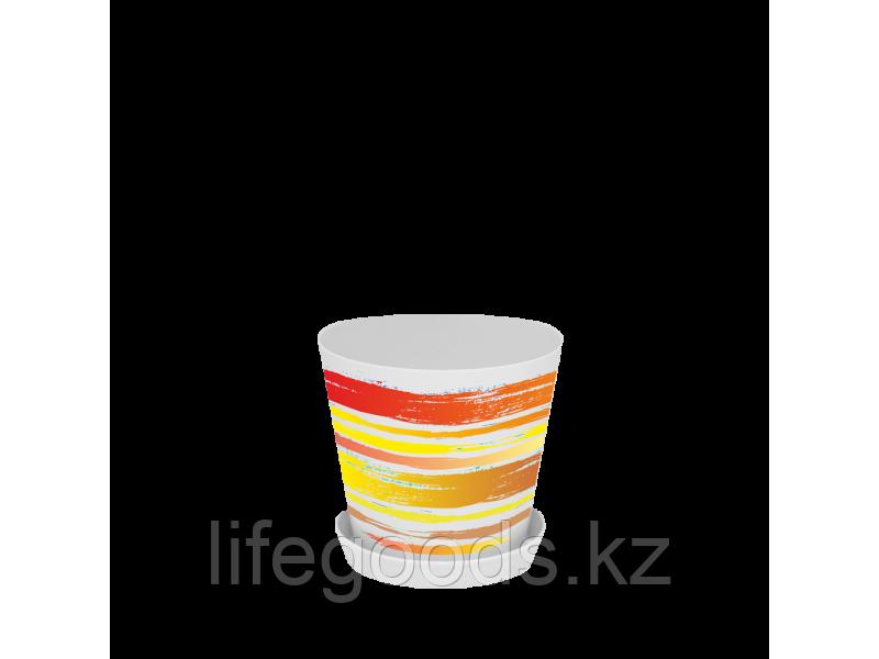 """Вазон """"Деко"""" с подставкой с декором 13*12,5см. (Краски: оранжевый) 160702008"""
