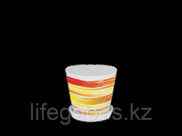 "Вазон ""Деко"" с подставкой с декором 13*12,5см. (Краски: оранжевый) 160702008, фото 2"