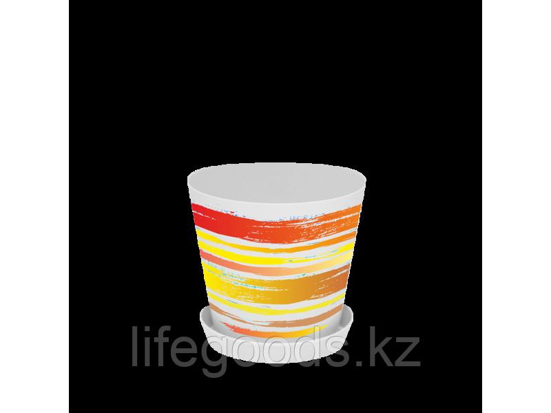 """Вазон """"Деко"""" с подставкой с декором 16*15,5см. (Краски: оранжевый)"""