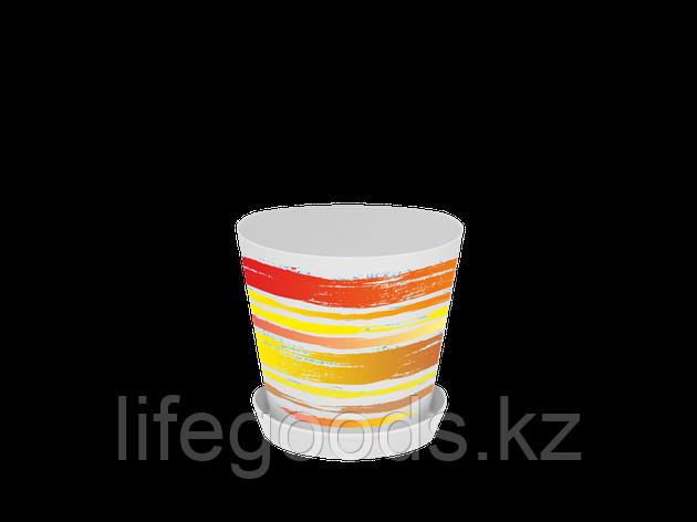 "Вазон ""Деко"" с подставкой с декором 16*15,5см. (Краски: оранжевый), фото 2"