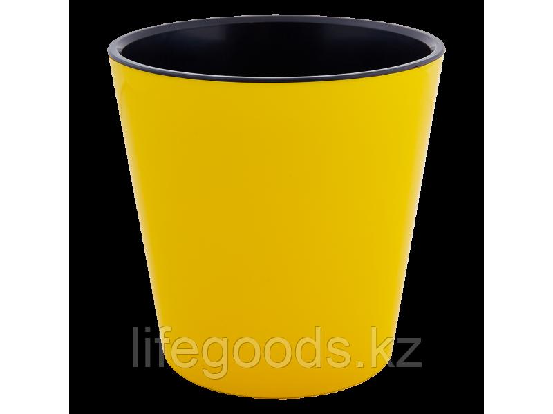 """Вазон """"Деко"""" со вставкой 13*12,5см. (т.жёлтый/чёрный) 161019065"""