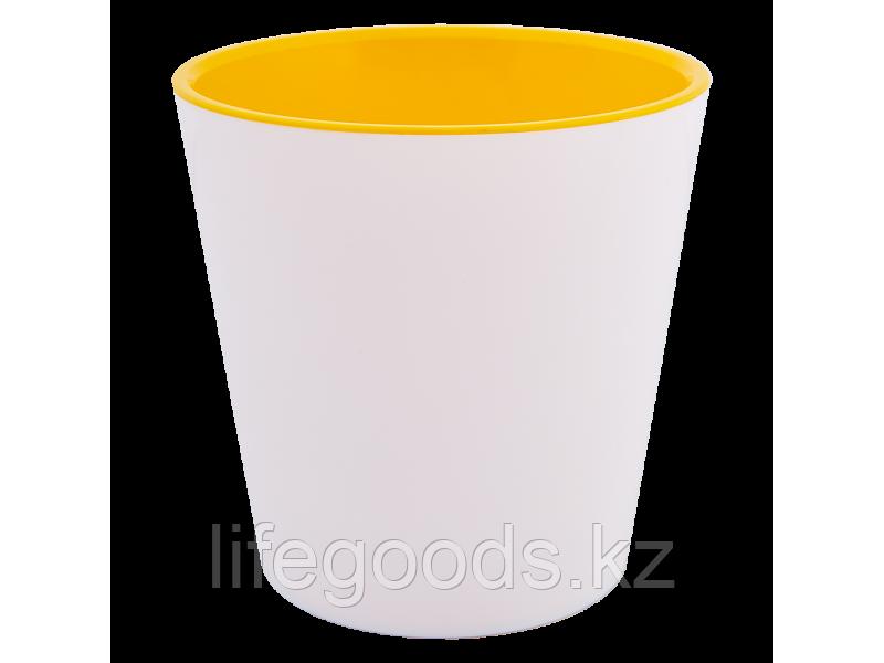 """Вазон """"Деко"""" со вставкой 16*15,5см. (белый/т.жёлтый)"""