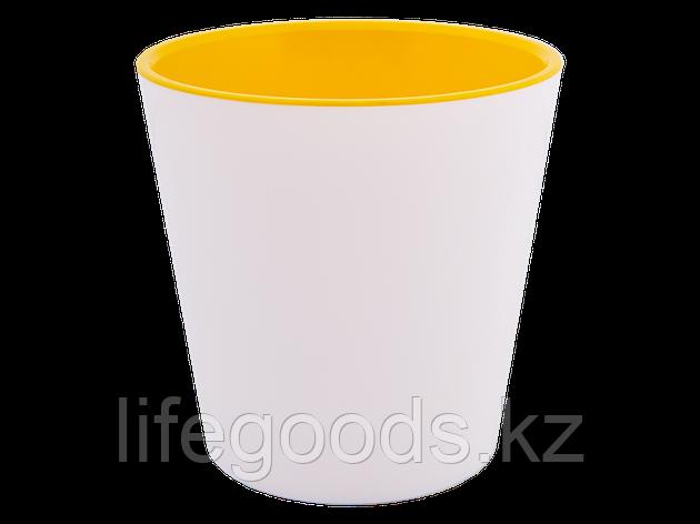 """Вазон """"Деко"""" со вставкой 16*15,5см. (белый/т.жёлтый), фото 2"""