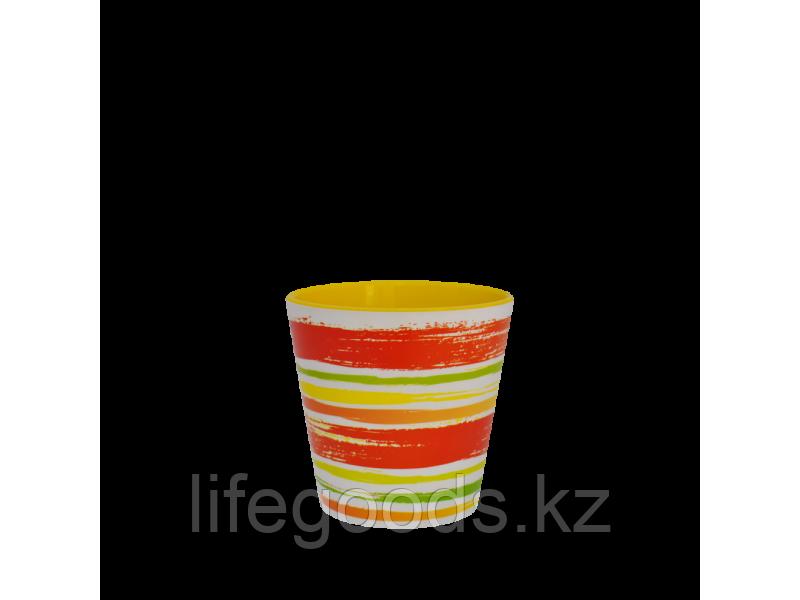 """Вазон """"Деко"""" со вставкой с декором 13*12,5см. (Краски: оранжевый)"""