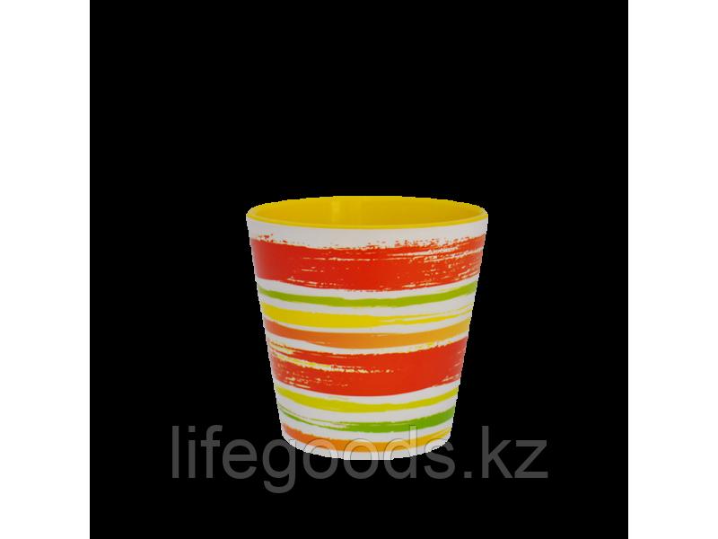 """Вазон """"Деко"""" со вставкой с декором 16*15,5см. (Краски: оранжевый)"""