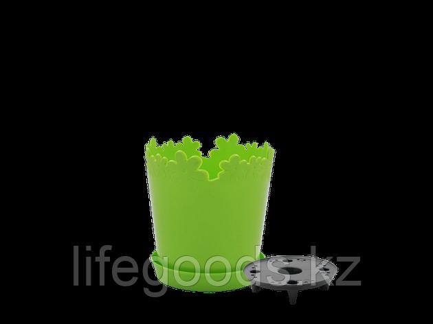 """Вазон """"Лютик"""" с дренажной подставкой 13см. (оливковый), фото 2"""
