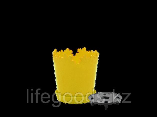 """Вазон """"Лютик"""" с дренажной подставкой 13см. (т.жёлтый), фото 2"""