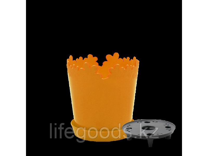 """Вазон """"Лютик"""" с дренажной подставкой 17см. (светло-оранжевый) 160303015"""