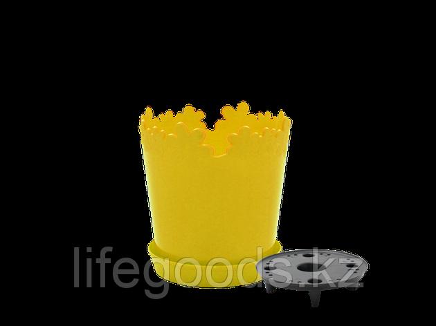 """Вазон """"Лютик"""" с дренажной подставкой 17см. (т.жёлтый) 160303011, фото 2"""