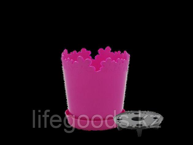 """Вазон """"Лютик"""" с дренажной подставкой 17см. (т.розовый), фото 2"""