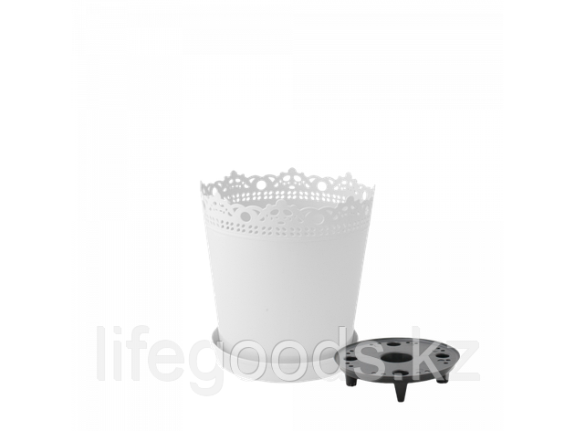 """Вазон """"Ришелье"""" с дренажной подставкой 13см. (белый), фото 2"""