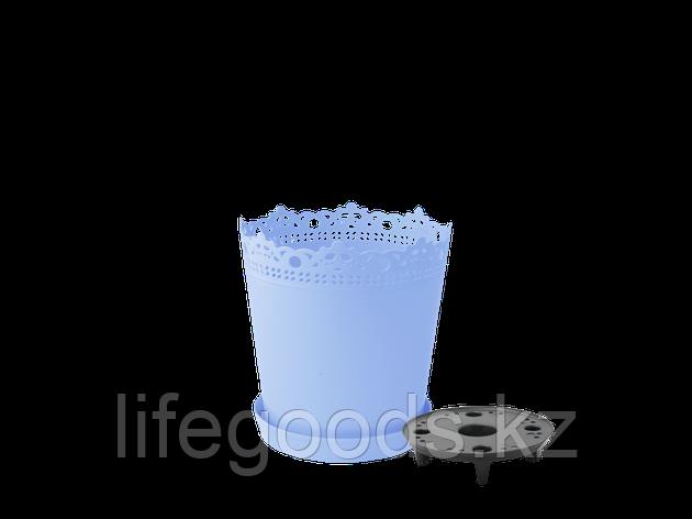 """Вазон """"Ришелье"""" с дренажной подставкой 13см. (голубой), фото 2"""