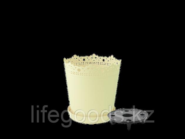 """Вазон """"Ришелье"""" с дренажной подставкой 13см. (жёлтый), фото 2"""