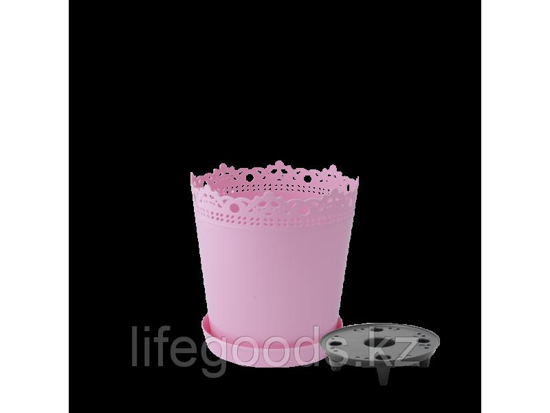 """Вазон """"Ришелье"""" с дренажной подставкой 13см. (розовый) 160303035"""