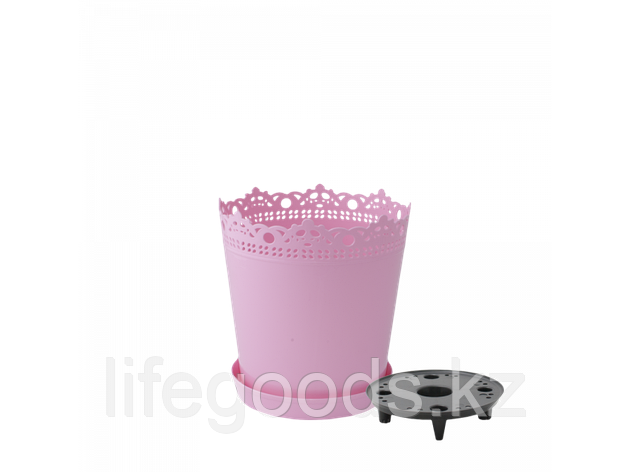 """Вазон """"Ришелье"""" с дренажной подставкой 13см. (розовый) 160303035, фото 2"""