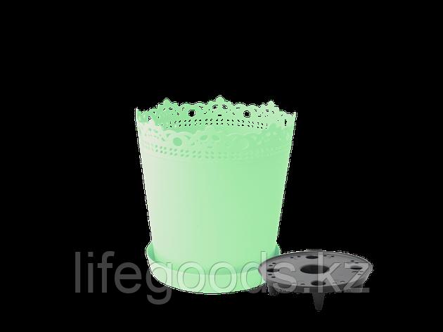 """Вазон """"Ришелье"""" с дренажной подставкой 17см. (салатовий), фото 2"""